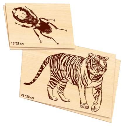 Доски для выжигания Десятое Королевство жук, олень,тигр 01816ДК