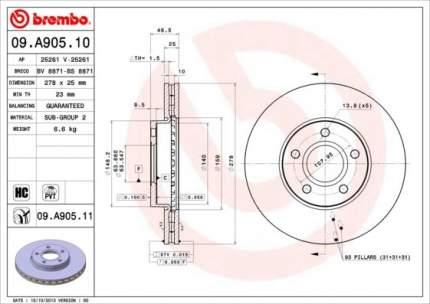 Тормозной диск brembo 09.A905.11