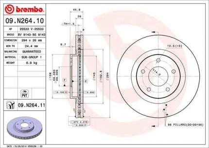 Тормозной диск brembo 09.N264.11