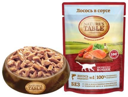 Влажный корм для кошек Nature's Table, с лососем в соусе, 24шт по 85г