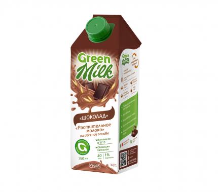 Растительный напиток Green Milk на овсяной основе шоколад 0.75 л
