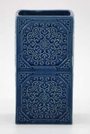 Стакан для зубных щеток керамический, орнамент, цвет-синий