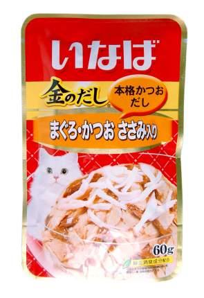 Влажный корм для кошек CIAO, японский тунец бонито и филе курицы, 60г