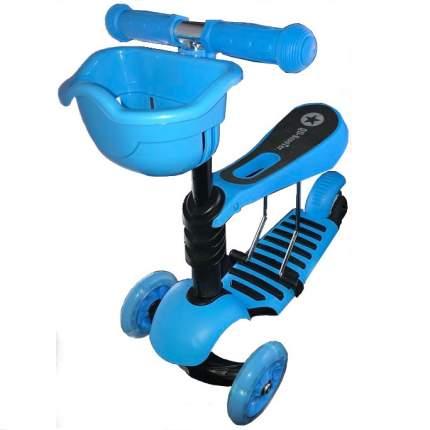 Детский самокат Scooter 3в1 с корзинкой голубой