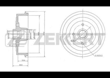 Тормозной барабан ZEKKERT BS-5412
