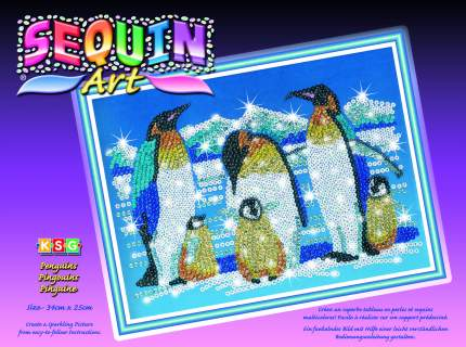Мозаика из пайеток и бусин KSG Sequin Art Пингвины