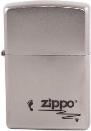 Бензиновая зажигалка Zippo №205 Footprints Satin Chrome