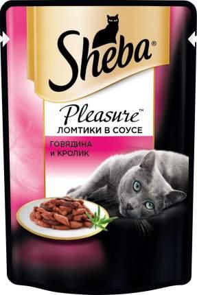 Влажный корм для кошек Sheba Pleasure ломтики из говядины и кролика в соусе, 85г