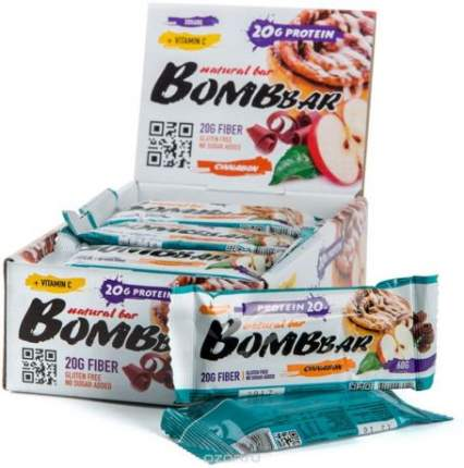 Батончик протеиновый Bombbar (коробка 20 шт.), Яблоко-корица