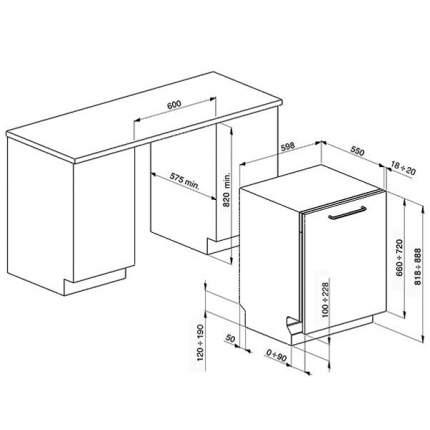 Встраиваемая посудомоечная машина 60 см SMEG STA6443-3