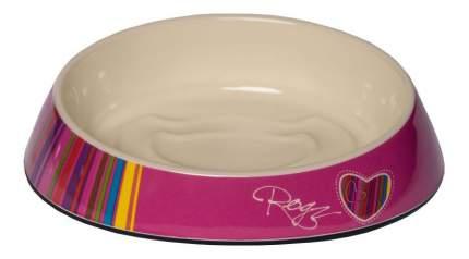 Одинарная миска для кошек Rogz, силикон, керамика, розовый, белый, 0.2 л