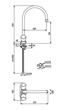 Смеситель для кухонной мойки Vidima Квадро BA245AA хром