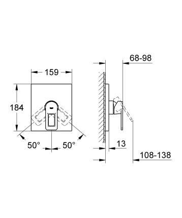 Смеситель для встраиваемой системы Grohe Quadra 19455000 серебристый