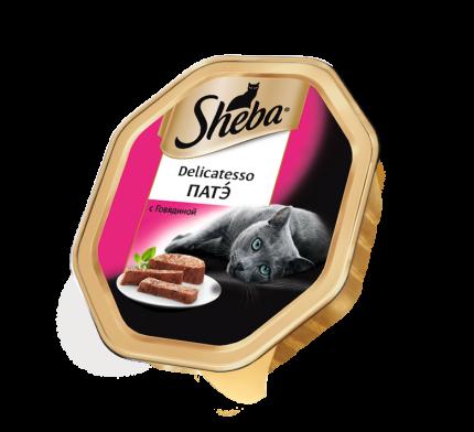 Консервы для кошек Sheba Delicatesso патэ с говядиной, 85г