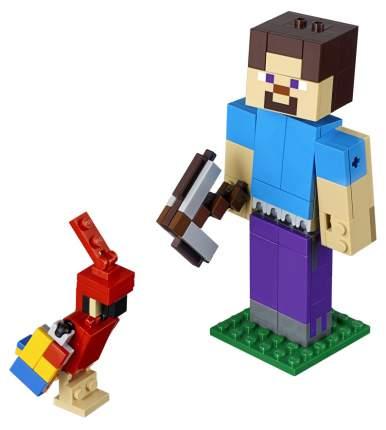 Конструктор LEGO Minecraft 21148 Большие фигурки Стив с попугаем
