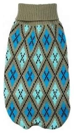 Свитер для собак Уют размер L унисекс, серый, голубой, длина спины 35 см