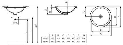Встраиваемая раковина IDEAL STANDARD E505201