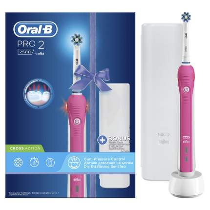 Электрическая зубная щетка Braun Oral-B Pro 2 2500 Cross Action Pink+Футляр