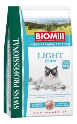 Сухой корм для кошек BIOMILL Swiss Professional Light, низкокалорийный,курица, 1,5кг