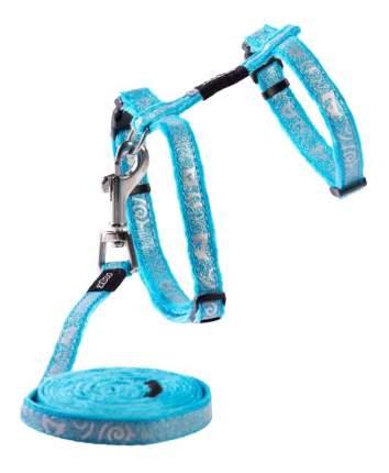 Комплект поводок и шлейка для кошек Rogz SparkleCat S-11мм 1,8 м (Голубой CLJ52F)