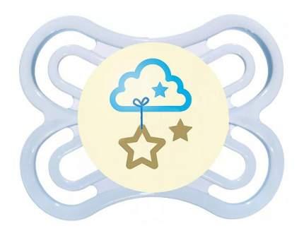 Силиконовая пустышка ортодонтическая MAM Perfect Night облако голубая