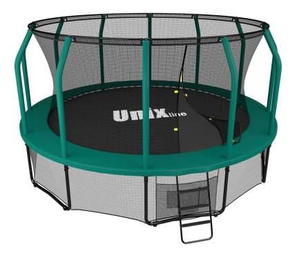 Батут Unix Line Supreme с сеткой и лестницей 366 см, green