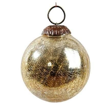 Винтажный шар Kaemingk 75 мм золотой состаренный, стекло 190032