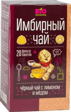 Чай черный Fitness кондитерская bio national имбирный с лимоном и медом 20 пакетиков