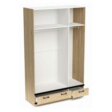Платяной шкаф СБК Бостон SBK_11610 135x52,6x217,4, белый/гикори джексон/черный