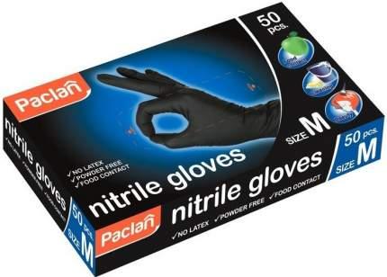 Перчатки Paclan нитриловые черные размер M 50 штук