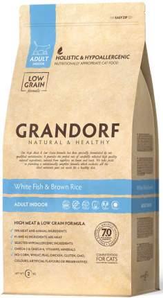 Сухой корм для кошек Grandorf Sensitive, беззерновой, белая рыба с бурым рисом, 0,4кг