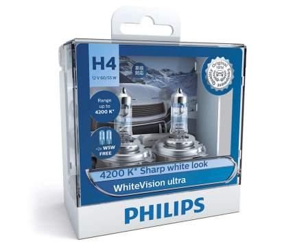 Лампа H4 Whitevision Ultra, (К-Кт 2шт В Пласт. Уп.) Philips арт. 12342WVUSM
