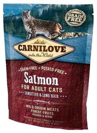 Сухой корм для кошек Carnilove Sensitive & Long Hair, лосось, 0,4кг