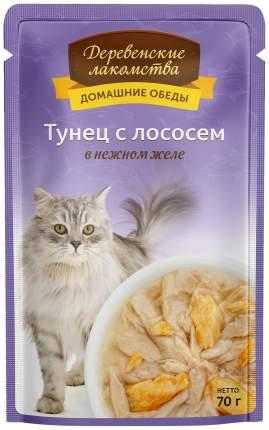 Влажный корм для кошек Деревенские лакомства Домашние обеды, лосось, рыба, 12шт, 70г