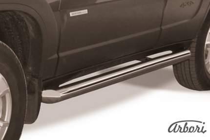 Защита порогов d76 труба  Arbori нерж. сталь для Chevrolet NIVA 2010-нв