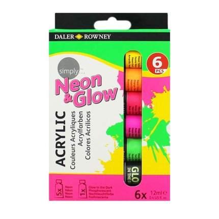 Акриловые краски Daler Rowney Neon&Glow Daler Rowney Simply 6 цветов
