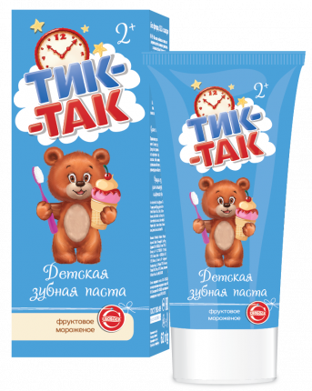 Паста зубная детская Тик-Так фруктовое мороженое 2+, 62г
