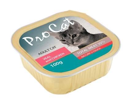 Консервы для кошек Pro Cat Adult, телятина и курица, 100г