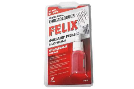 Анаэробный фиксатор резьбы FELIX, неразъемный красный, 6 мл