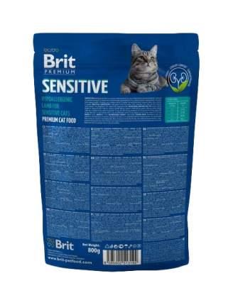 Сухой корм для кошек Brit Premium Sensitive, ягненок, 0,8кг
