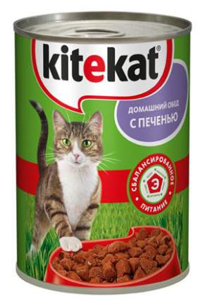 Консервы для кошек KiteKat Домашний обед, печень, 410г