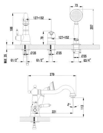 Смеситель для ванны на борт LEMARK Villa LM4845B хром