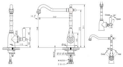 Смеситель для кухонной мойки BRAVAT Art F775109G-1 золото