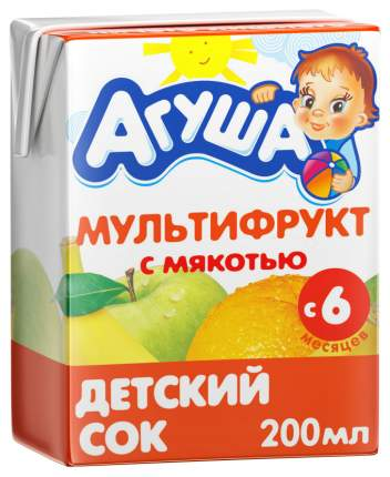 Сок Агуша Мультифрукт с мякотью с 6 мес 200 мл