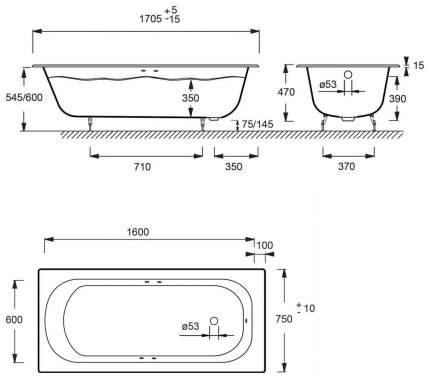 Чугунная ванна Jacob Delafon Catherine E2953 170х75 без гидромассажа