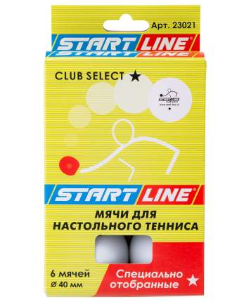 Мячи для настольного тенниса Start Line 1* Club Select белые, 6 шт.