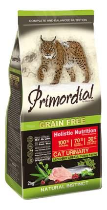 Сухой корм для кошек Primordial Natural instinct, беззерновой, при МКБ, индейка,сельдь,2кг