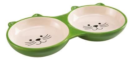 Двойная миска для кошек Ferplast, керамика, зеленый, бежевый, 2 шт по 0.115 л