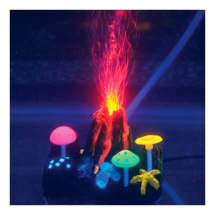 Декорация для аквариума Вулкан подводный с неоновым эффектом 9х7х6,5см