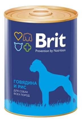 Консервы для собак Brit, говядина, рис, 12шт, 850г